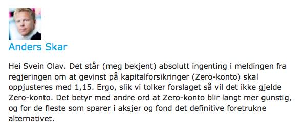Ikke økt skatt på aksjer eid gjennom investeringskonto, sier Anders Skar i Nordnet